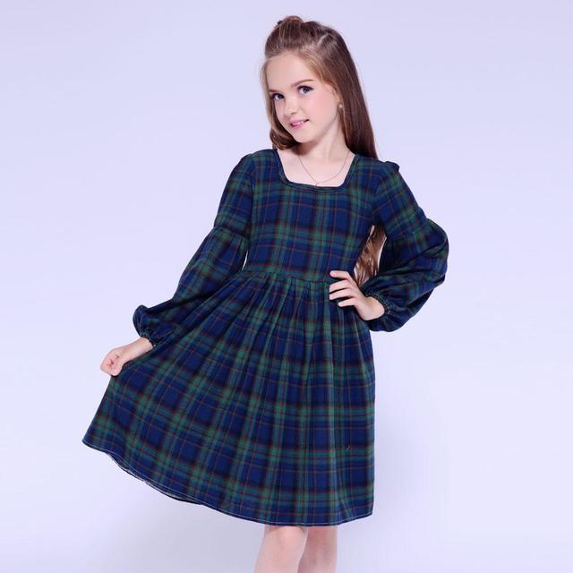 Kseniya Kids Clothes 2018 Winter Girls Dress Long Sleeve Plaid Party ... 20e4371c92f9