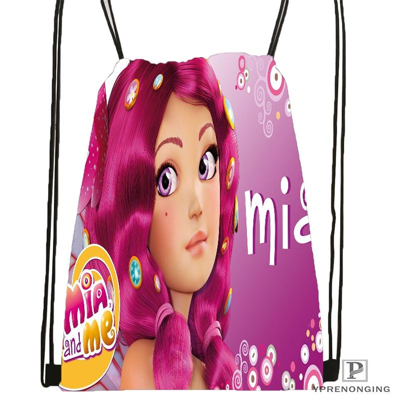 Custom Mia And Cartoon Me Drawstring Backpack Bag Cute Daypack Kids Satchel Black Back 31x40cm 180531