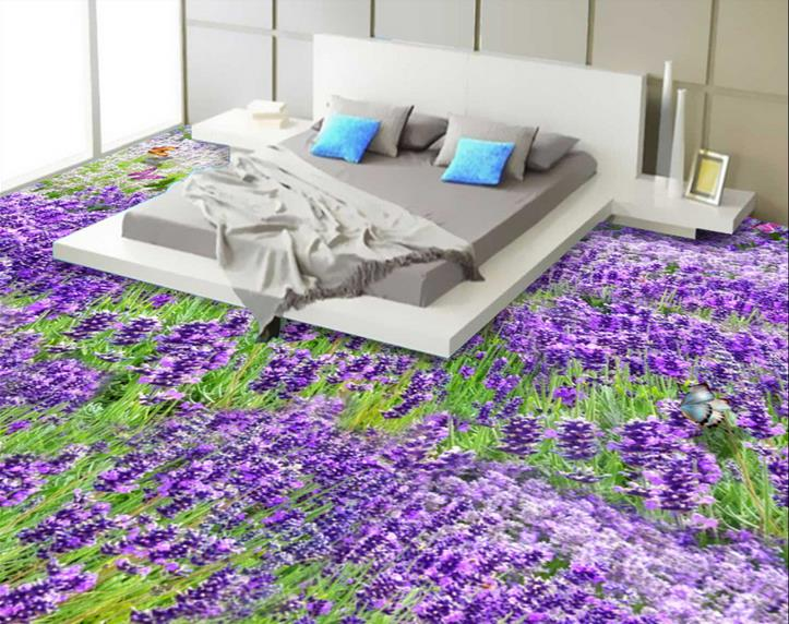 ФОТО Custom 2016 3d floor murals lavender wallpapers for living room 3d floor painting pvc self adhesive wallpaper 3d floor