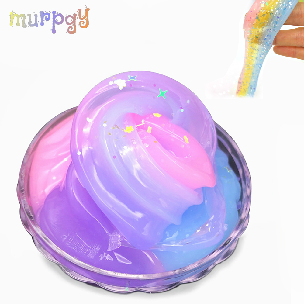 2019 Glitter Slime Fluffy Soft Modeling Clay Light Dynamic Polymer Lizun For Slime DIY Antistress Charms Plasticine Toys Putty