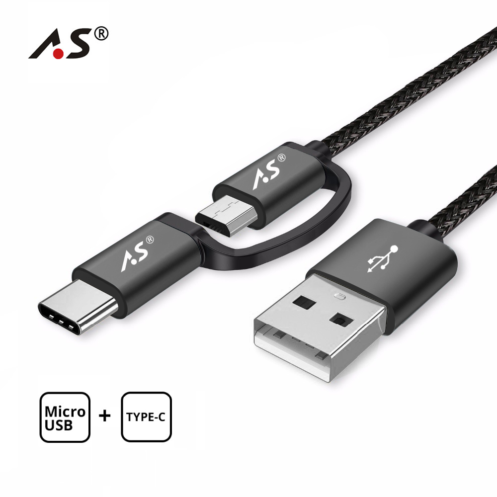 A.S 2 in 1 USB C Type C Cable Micro USB Cable Fast Charging USB Type C Cable for Samsung Galaxy S9 S8 Note 8 Xiaomi Huawei QC3.0|Mobile Phone Cables|   - AliExpress