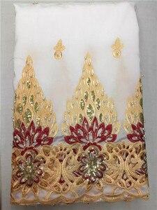 Image 3 - LJ16KWholesaleที่มีคุณภาพสูงผ้าจอร์จแอฟริกัน,สีเหลืองแอฟริกันจอร์จลูกไม้ผ้าสำหรับงานแต่งงานไนจีเรีย