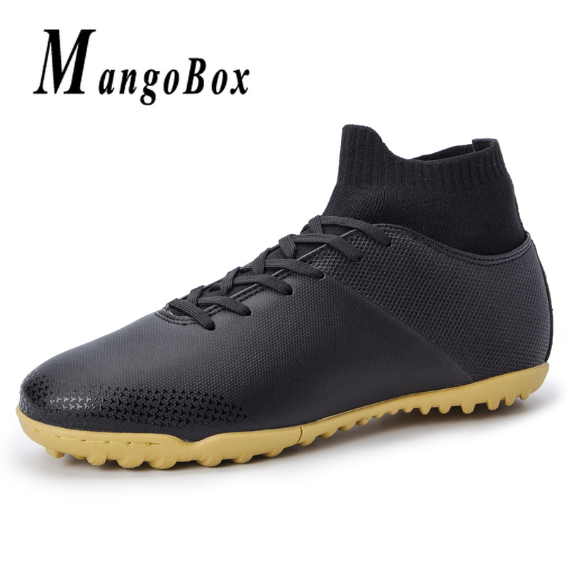New Soccer Male Sneakers Wine Red Black Football Sock Boots Men High Top Outdoor Soccer Shoes Comfortable Turf Football Men Shoe