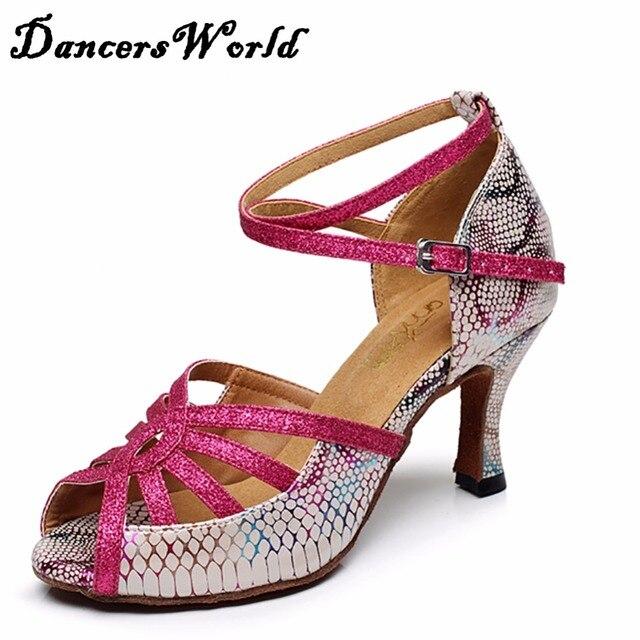 Señora Zapatos de Baile Latino 7.5 cm Heel Rose Red Suela Blanda Satén de  la alta 41af332df950