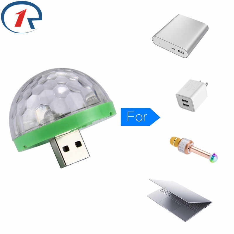 ZjRight USB Mini Multi-colore Ha Condotto Le Luci Microfono banca di potere del computer del telefono Mobile di Musica di controllo del suono sfera magica Neon illuminazione