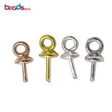 Beadsnice 925 Stering Silver Bail Connectors hot sale pendant bail connector beads cap for pearl or crystal bead ID28794