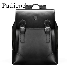 Padieoe New Korean Style Men Backpack Genuine Leather Bag brand business casual laptop backpacks
