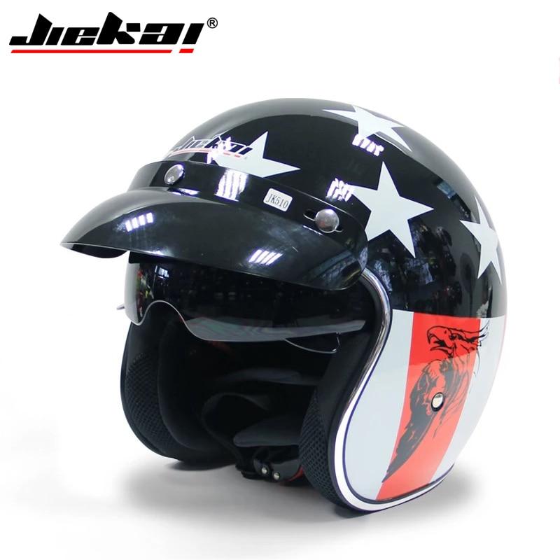 Motorcycle half village helmet JIEKAI BLACK sun visor helmets motorbike bicycle riding helmets for helmet