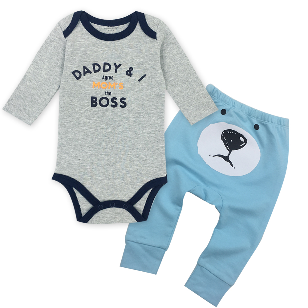 Baby body en baby broek pak 100% katoen, O-hals lange mouwen kleding - Babykleding - Foto 3