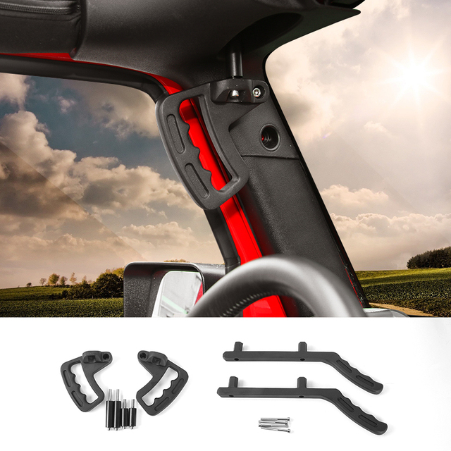 MOPAI Aluminum Car Front Rear Interior Decoration Top Mount Hardtop Grab Handle Bar Fit For Jeep Wrangler 2007 Up Car Styling