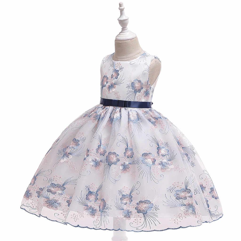 2019 г. Новое Элегантное детское платье для девочек детское свадебное платье принцессы без рукавов с вышивкой в виде бабочки и сетки сценический фортепиано костюм # LR3