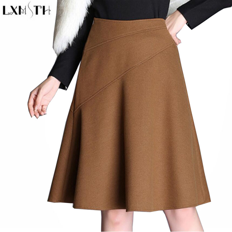 LXMSTH Autumn Winter High Waist Womens Woolen Skirt Korean Ladies Plus Size Wool Skirts Black Camel A Line Pleated Midi Skirt