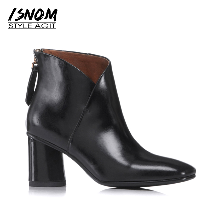 ISNOM New Ankle Boots Thick High Heels Women Boots 2018 Autumn Fashion Pointed Toe Shoes Genuine Leather Short Plush Footwear цена