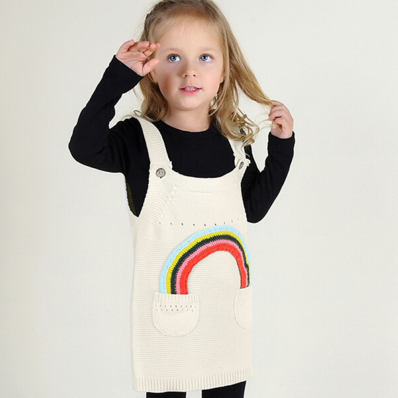 girls cotton sweater dress spring and summer baby rainbow sleeveless knitting dresses Children's Clothing overalls 1-5year