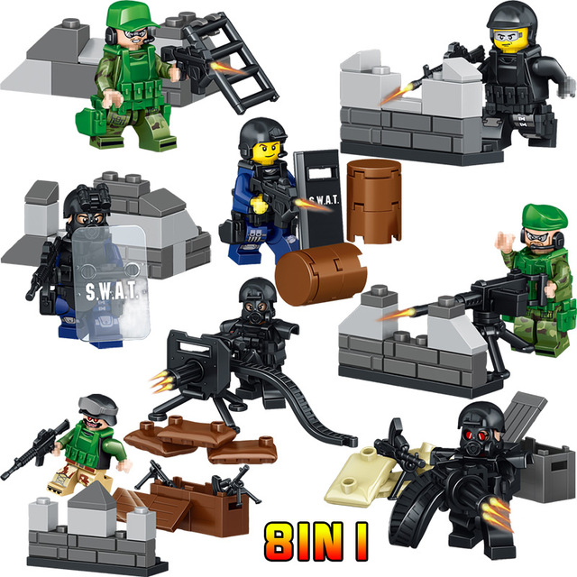 Military series building Lightning commando Army Bricks Blocks Compatible LegoINGLY Raiders Charge Action figures toys for kids