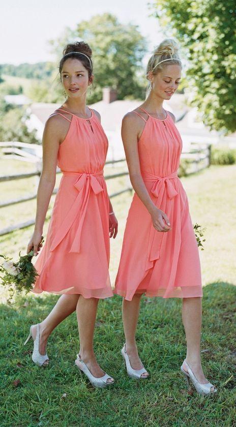 cc27867389292 2017 Off Shoulder Bridesmaid Dress Short Knee Length Wedding Party Dress  Chiffon Halter Maid of Honor Dress Bridesmaid Dresses