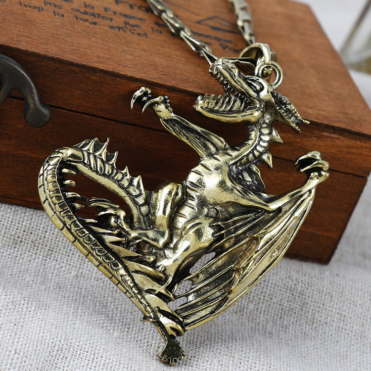 Fashion dragon pendant dragon necklace vintage exaggerate necklace silver plating necklace