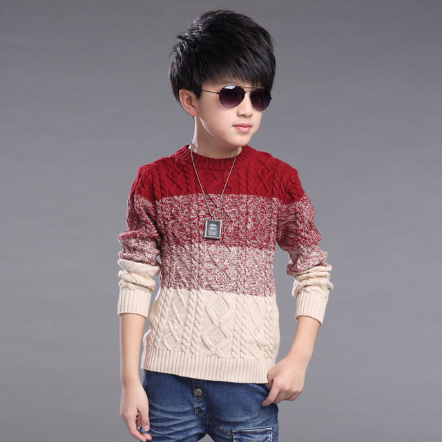 Kids Boys sweater spring & autumn & winter 2016 fashion baby boy clothing big virgin knit pullover 6/7/8/9/10/11/12/13/14 years