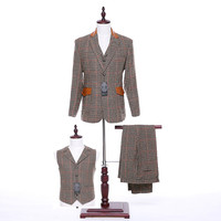 New Designs Mens Classic Suits Autumn Winter Slim Fit Khaki Plaid Fabric Mens Suits Wedding Groom