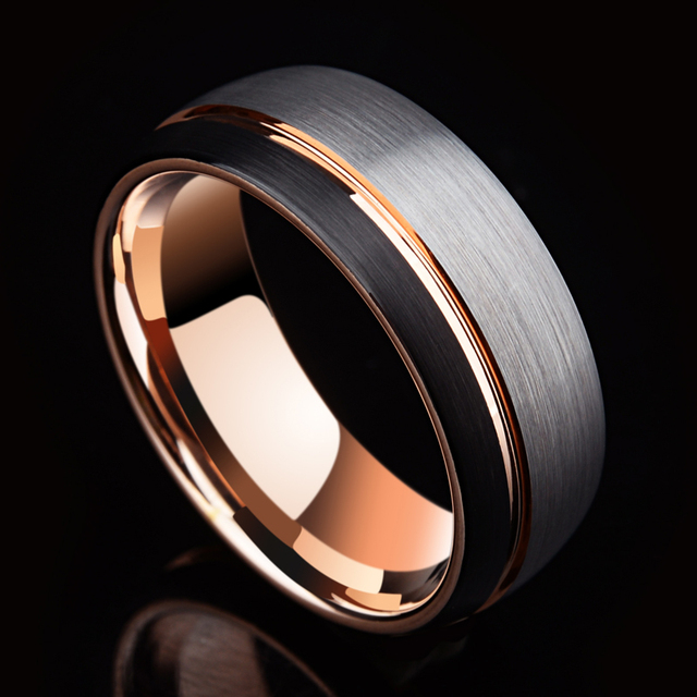 Saya Brand Unique Design 8mm Tungsten Carbide Wedding Band Rings For Men Rosegold Plated Inside Brushed