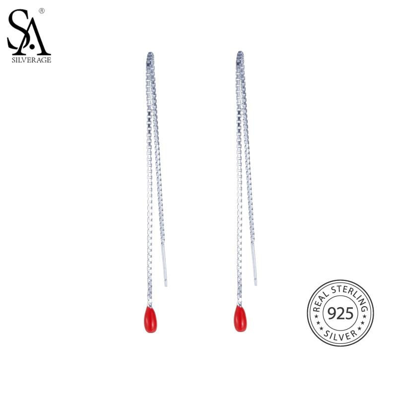 SA SILVERAGE Мода Длинные висячие серьги реальные стерлингового серебра 925 красный глазури серьги для Для женщин падение вечерние серьги линия