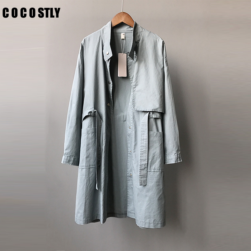 Autumn BF Harajuku Style Windbreaker Coat Female Long   Trench   Coat For Women Students Wild Loose Tooling   Trench   Coats