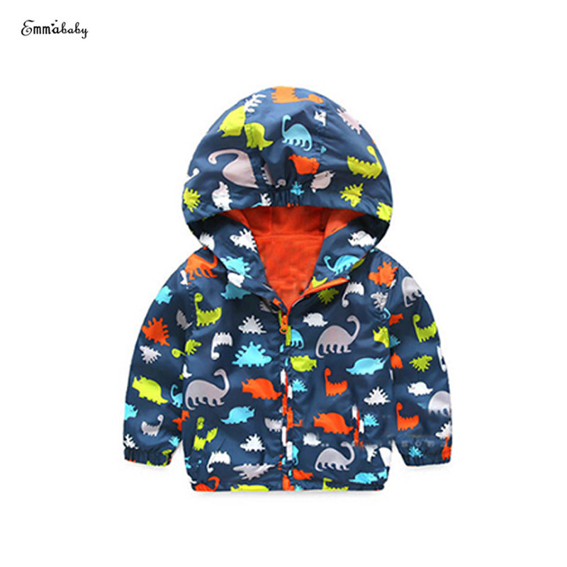 2017 Kid Boy Waterproof Breathable Rain Coat Cartoon Baby Jacket Stormbreak Hooded Coat Long Sleeve Children Clothes 3-7Y