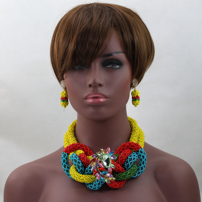 2017 Newest African Beads Jewelry Set For Women Colorful Crystal Beads Jewelry Set Nigerian Wedding Bridal Necklace Set HX5992017 Newest African Beads Jewelry Set For Women Colorful Crystal Beads Jewelry Set Nigerian Wedding Bridal Necklace Set HX599
