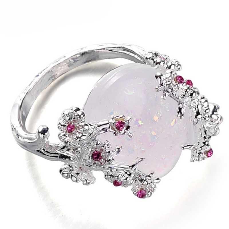 Красивое дерево и кольцо в виде цветка, ювелирное изделие черное золото заполненные Романтический CZ Большой Белый огненный опал кольца для Для женщин дропшиппинг группы кольцо