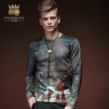 FANZHUAN Featured Brands Clothing Fall Mens T-Shirts Flower Print Man's Long Sleeve Slim T Shirts Male Tops Hawaiian TShirts 5XL
