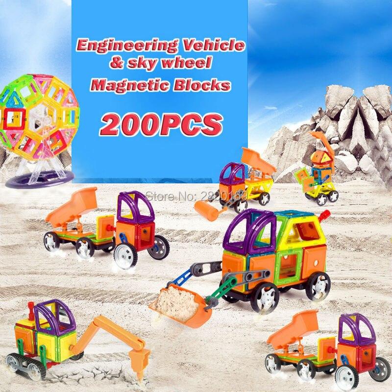 200 pcs Magnétique De Construction Concepteur Blocs Aimants Ingénierie Véhicules ciel roue Modèle Kits de Construction Briques jouets Éducatifs