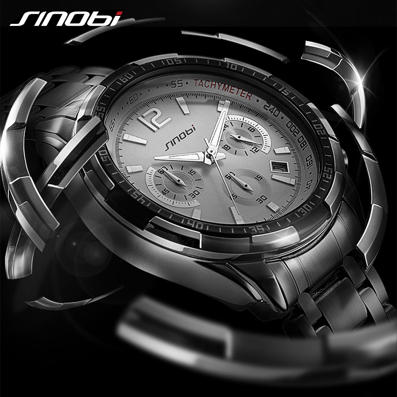 Sinobi Watch Men Wrist Watches Mens Top Brand Luxury Male Clock relogio masculino Quartz Metal Steel Sport Wristwatches 2018 New watches men luxury brand chronograph quartz watch stainless steel mens wristwatches relogio masculino clock male hodinky