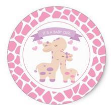 1.5inch Sweet Pink Baby Girl Giraffe Jungle Baby Shower Classic Round Sticker sweet baby primavera classic 119х59х12