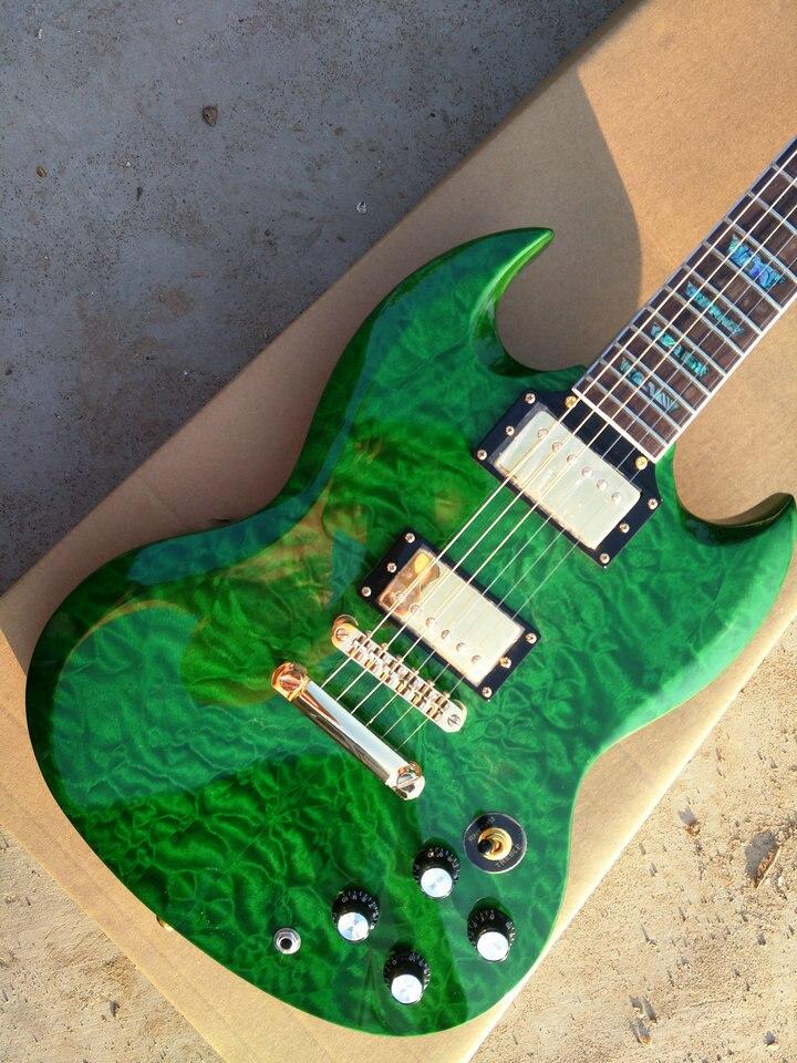 Venta caliente de alta calidad SG guitarra con verde acolchado mapa arriba, incrustaciones de abulón, todos los colores disponibles, auténtico fotos envío gratis