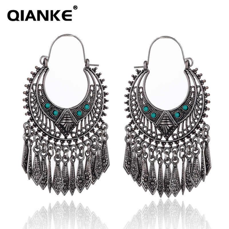 QIANKE Ethnic Big Alloy Drop Earrings for Women Long Vintage Statement Moon  Boho Dangle Earrings Fashion 00368590ba53