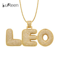 LuReen Custom Name Bubble Letters Pendant Necklaces For Mens Hip Hop Cubic Zircon Necklace Gold Silver Chain Jewelry LN07002