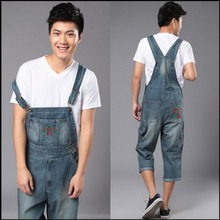 S-5XL 2016 Spring new plus size men's denim overalls loose pants tooling calf length jeans Rompers bib pants Jumpsuits costumes