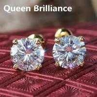 14K 585 Yellow Gold Push Back 2 Carat ctw 6.5mm F Color Lab Grown Moissanite Diamond 4 Prongs Stud Earrings For Women