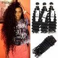 7A Brazilian Deep Wave With Closure 3 Bundles With Closure Brazilian Deep Curly Virgin Hair With Closure Cheap Human Hair Weave