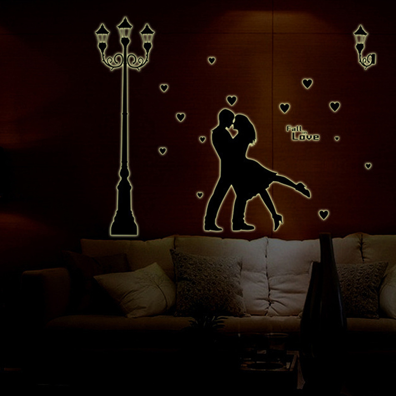 3D Wallpapers Romantic couple lovers Night Luminous Fluorescent Living Room Bedroom Wedding room Kid s