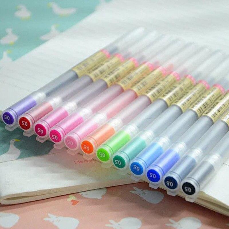 12Pcs/lot Muji Style Gel Pen 0.5mm Colour Ink Pen Maker Pen School Office Supply