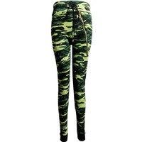New 2015 Hot Sale High Waist Camouflage Leggings Zipper Leggings Milk Silk Dyeing Leggings Printing Stitching