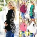 5XL 2016 Plus Size Mulheres Roupas de Outono T-shirt Das Mulheres de Inverno Casual Sexy Splice Leopard Grande Tamanho Grande de Manga Longa Quente topos