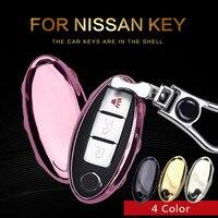 KUKAKEY TPU Clé De Voiture Support De Sac Pour Nissan À Distance Intelligent clé Shell Sac Porte-clés Porte-clés 4 Couleur Souple Clé De Voiture couverture