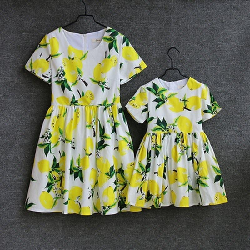 2018 Summer new Children clothing dress Family fitted short-sleeved dress Mother Daughter Clothing Lemon printing Girls skirt children clothing mother