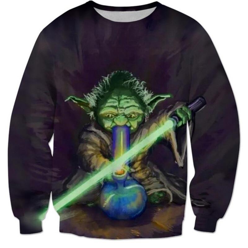 PLstar Cosmos 2017 new fashion Yodulk Crewneck Sweatshirts Star Wars Yoda Character 3D Sweats Fashion Clothing Jogger