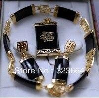 Genuíno preto colar pingente pulseira brinco Conjunto de Jóias