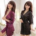 Preto roxo de cetim de seda Robe de banho Sexy Sheer vestido Babydoll Sleepwear S M L