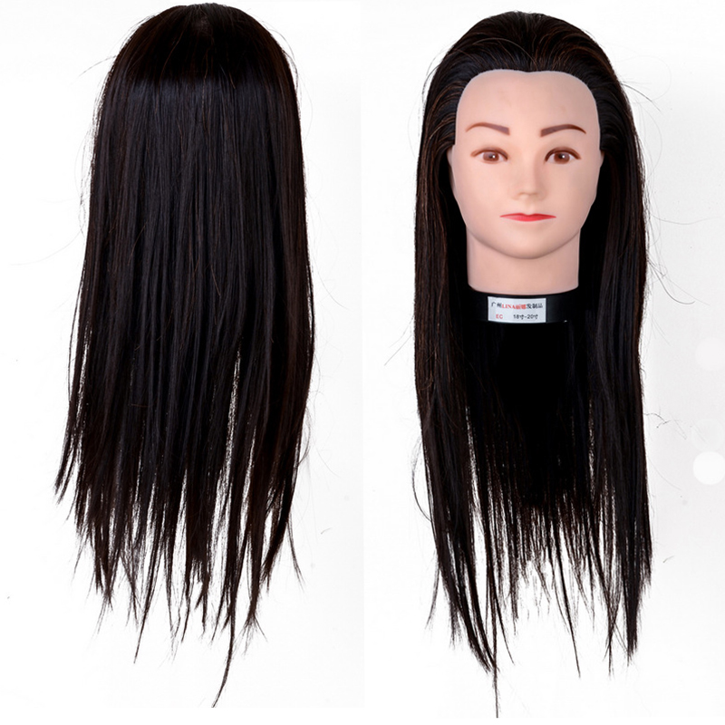 22 Inch Hair Salon Mannequin Hairdressing High Quality Training Practice Light Brown Model Head