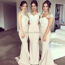 Sereia Vestido Madrinha 2017 Elegant Mermaid Bridesmaid Dresses Lace Straps Long Back Wedding Guest Party Gowns for Women
